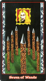 Seven of Rods Tarot Card - Vampire Tarot Deck