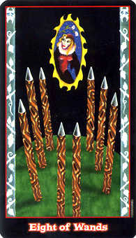 Eight of Batons Tarot Card - Vampire Tarot Deck