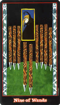 Nine of Batons Tarot Card - Vampire Tarot Deck