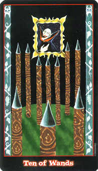 Ten of Batons Tarot Card - Vampire Tarot Deck