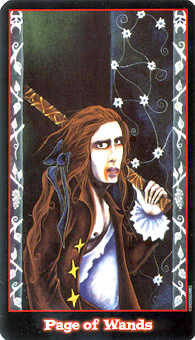 Page of Rods Tarot Card - Vampire Tarot Deck
