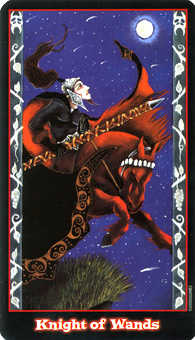 Knight of Batons Tarot Card - Vampire Tarot Deck