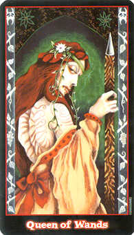 Queen of Wands Tarot Card - Vampire Tarot Deck
