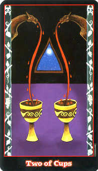 Two of Hearts Tarot Card - Vampire Tarot Deck