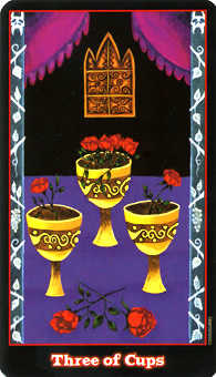Three of Bowls Tarot Card - Vampire Tarot Deck