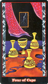 Four of Hearts Tarot Card - Vampire Tarot Deck