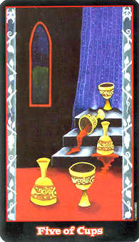 Five of Ghosts Tarot Card - Vampire Tarot Deck
