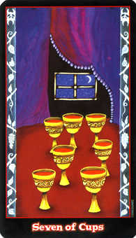 Seven of Hearts Tarot Card - Vampire Tarot Deck