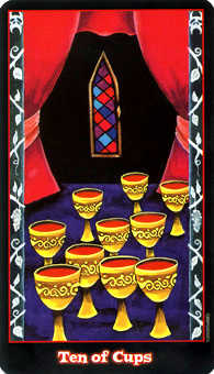 Ten of Hearts Tarot Card - Vampire Tarot Deck