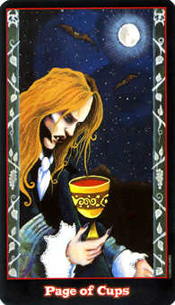 Valet of Cups Tarot Card - Vampire Tarot Deck