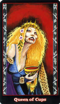 Queen of Bowls Tarot Card - Vampire Tarot Deck