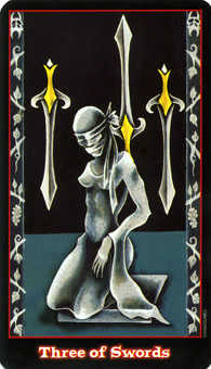 Three of Arrows Tarot Card - Vampire Tarot Deck