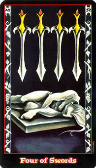Four of Swords Tarot Card - Vampire Tarot Deck