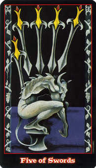 Five of Spades Tarot Card - Vampire Tarot Deck