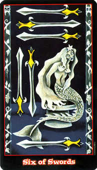 Six of Swords Tarot Card - Vampire Tarot Deck