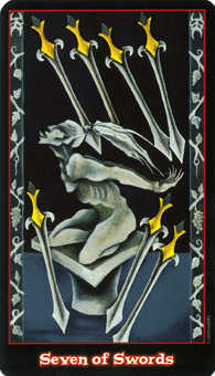 Seven of Swords Tarot Card - Vampire Tarot Deck