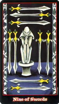 Nine of Arrows Tarot Card - Vampire Tarot Deck