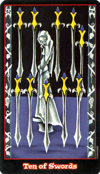 Ten of Swords Tarot Card - Vampire Tarot Deck
