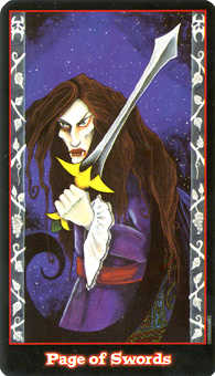 Valet of Swords Tarot Card - Vampire Tarot Deck