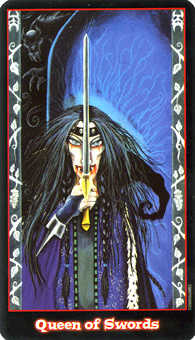 Queen of Swords Tarot Card - Vampire Tarot Deck