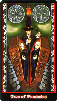 Two of Pentacles Tarot Card - Vampire Tarot Deck
