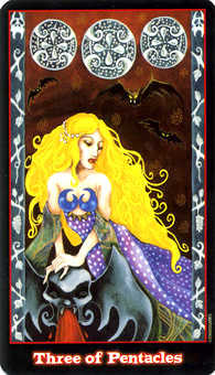 Three of Pentacles Tarot Card - Vampire Tarot Deck