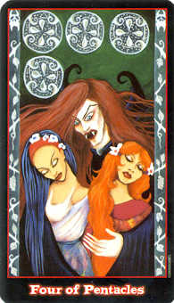 Four of Coins Tarot Card - Vampire Tarot Deck