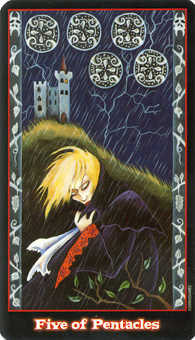 Five of Coins Tarot Card - Vampire Tarot Deck
