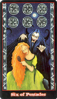 Six of Pentacles Tarot Card - Vampire Tarot Deck