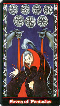 Seven of Pentacles Tarot Card - Vampire Tarot Deck