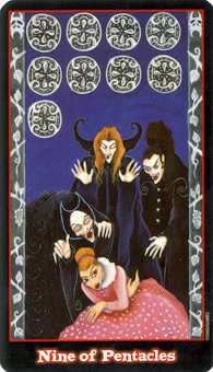 Nine of Coins Tarot Card - Vampire Tarot Deck