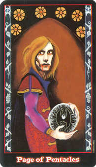 Page of Pentacles Tarot Card - Vampire Tarot Deck