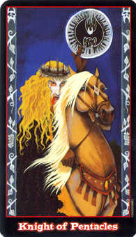 Knight of Coins Tarot Card - Vampire Tarot Deck