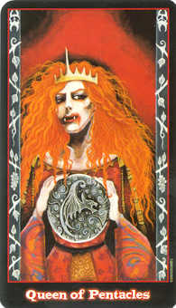 Queen of Coins Tarot Card - Vampire Tarot Deck