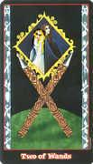Two of Wands Tarot card in Vampire Tarot Tarot deck