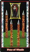 Four of Wands Tarot card in Vampire Tarot Tarot deck
