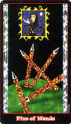 Five of Wands Tarot card in Vampire Tarot deck
