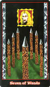 Seven of Wands Tarot card in Vampire Tarot Tarot deck