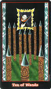 Ten of Wands Tarot card in Vampire Tarot deck