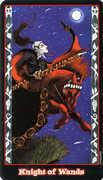 Knight of Wands Tarot card in Vampire Tarot deck