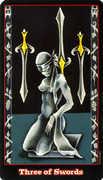 Three of Swords Tarot card in Vampire Tarot deck