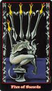 Five of Swords Tarot card in Vampire Tarot deck