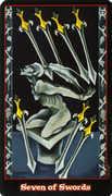 Seven of Swords Tarot card in Vampire Tarot deck