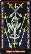 Eight of Swords Tarot card in Vampire Tarot Tarot deck