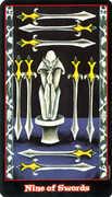 Nine of Swords Tarot card in Vampire Tarot Tarot deck