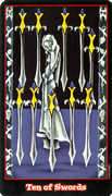 Ten of Swords Tarot card in Vampire Tarot Tarot deck