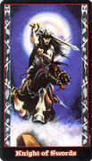 Knight of Swords Tarot card in Vampire Tarot Tarot deck