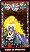 Three of Coins Tarot card in Vampire Tarot Tarot deck