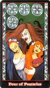 Four of Coins Tarot card in Vampire Tarot Tarot deck