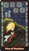 Five of Coins Tarot card in Vampire Tarot Tarot deck